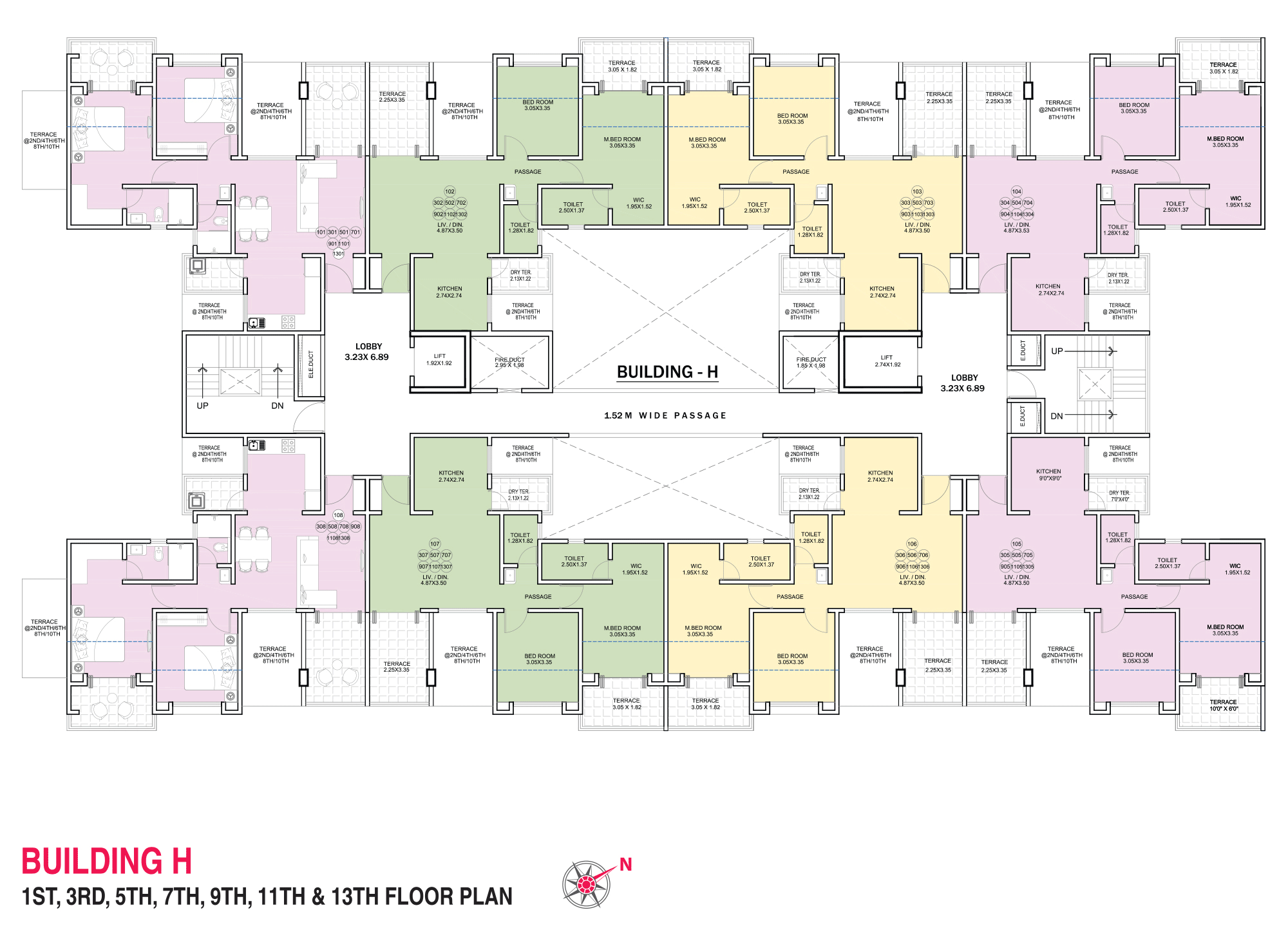 Pristine Pacific_Wing H 1,3,5,7,9,11,13 FLOOR PLAN