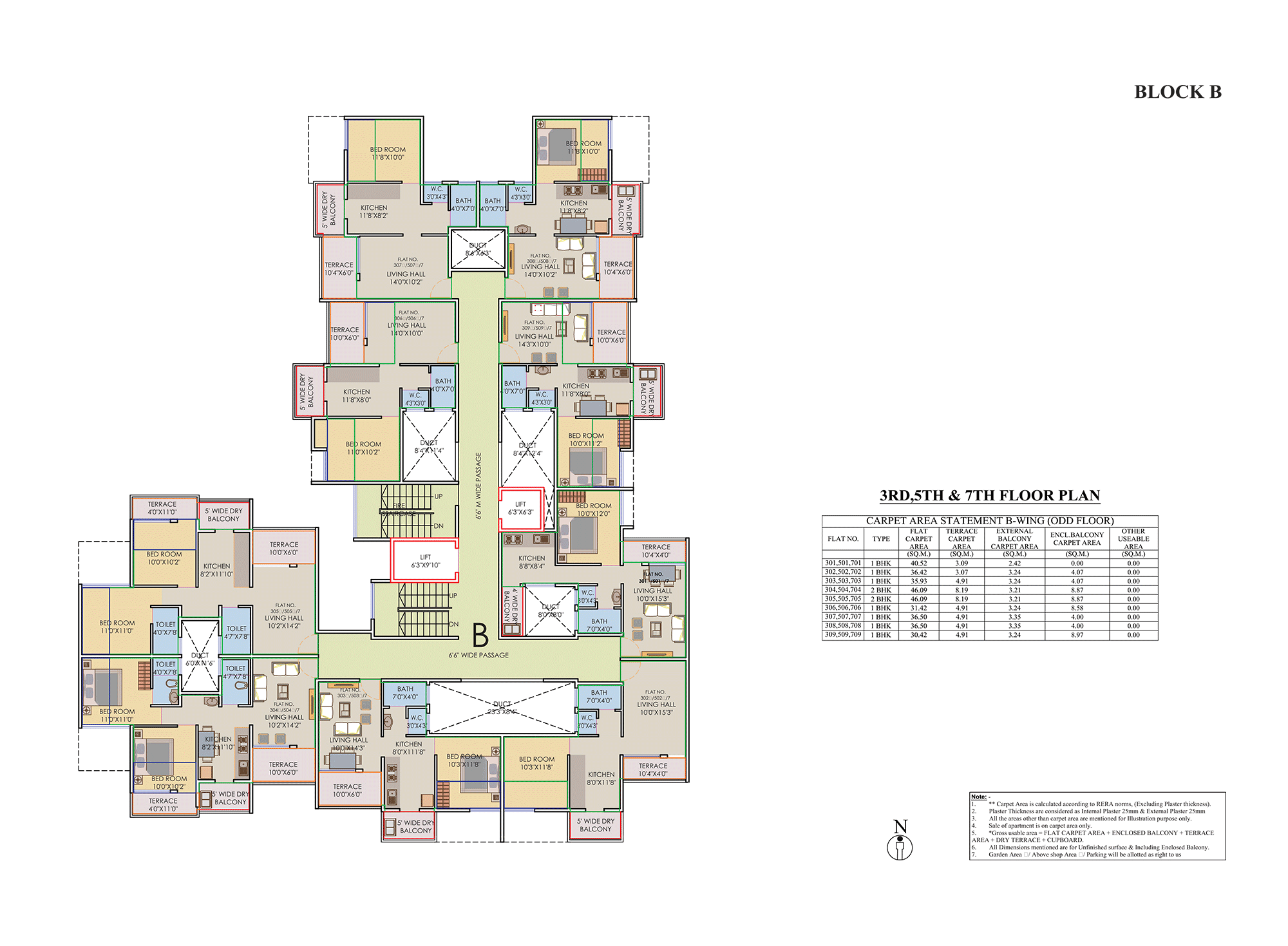 Prisitne Palms_Building  B 3,5,7 FLOOR PLAN