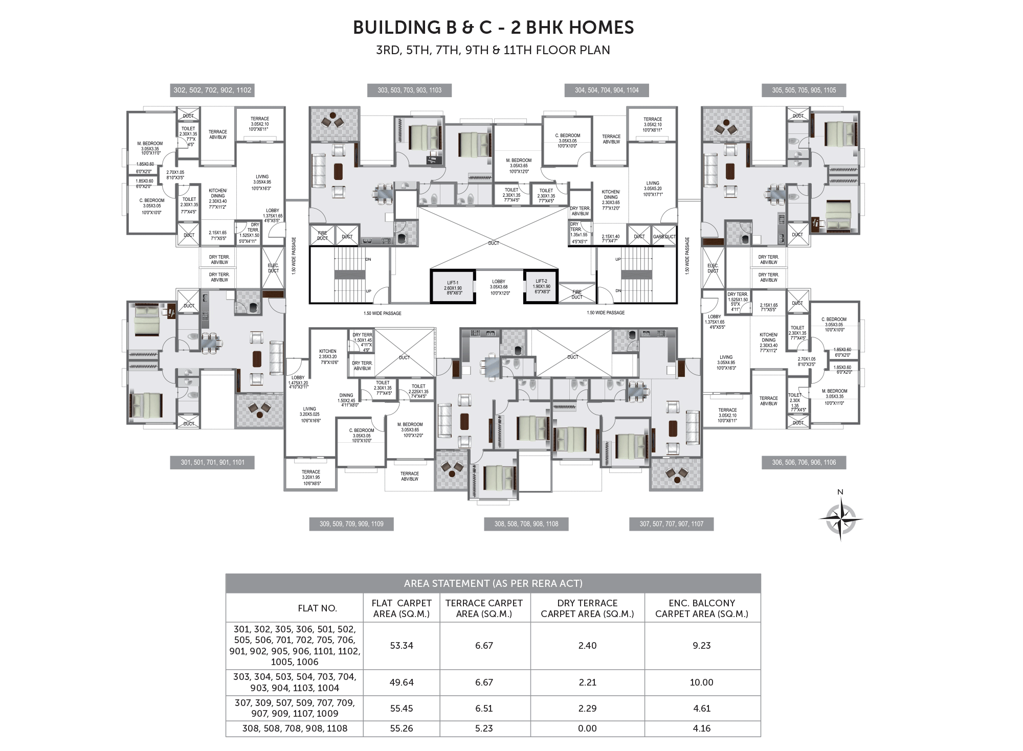 Pristine Prolife 3_Building B & C - 3RD, 5TH, 7TH, 9TH & 11TH FLOOR PLAN