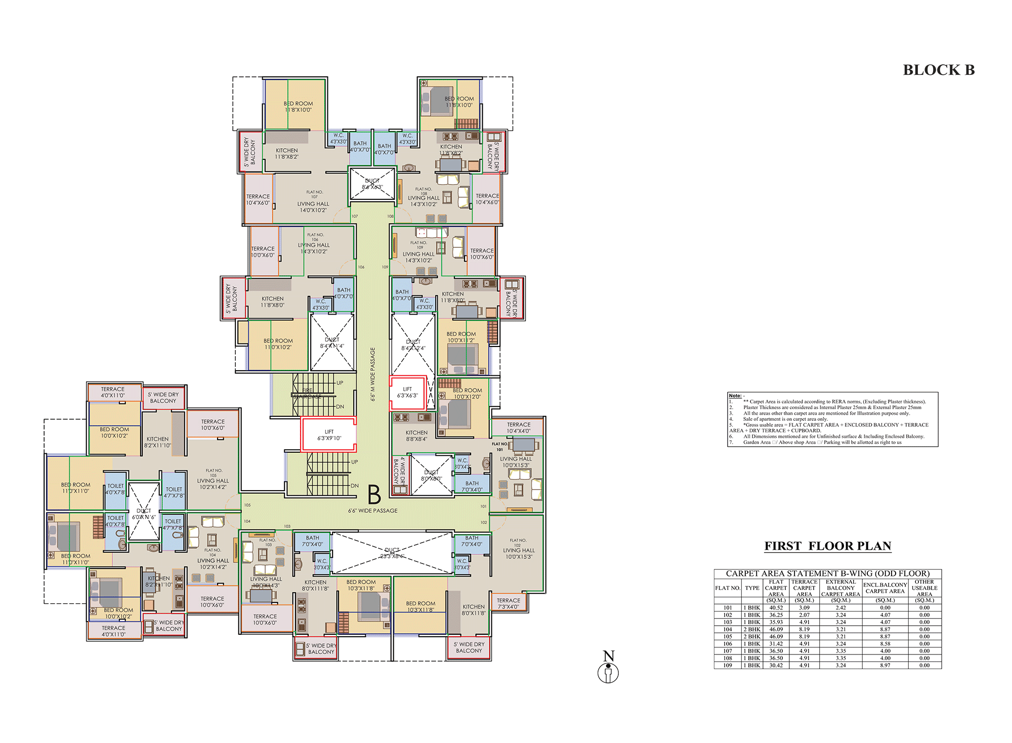 Prisitne Palms_Building B 1 FLOOR PLAN
