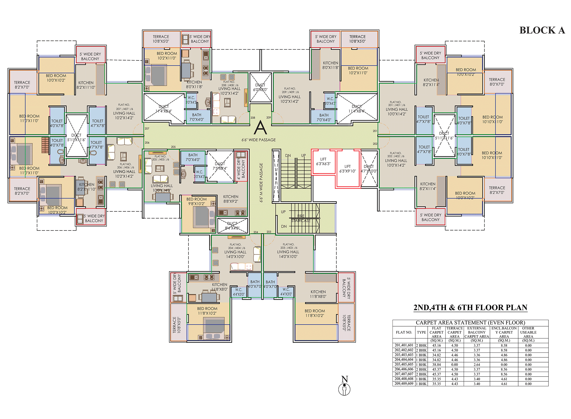 Prisitne Palms_Building  A 2,4,6 FLOOR PLAN