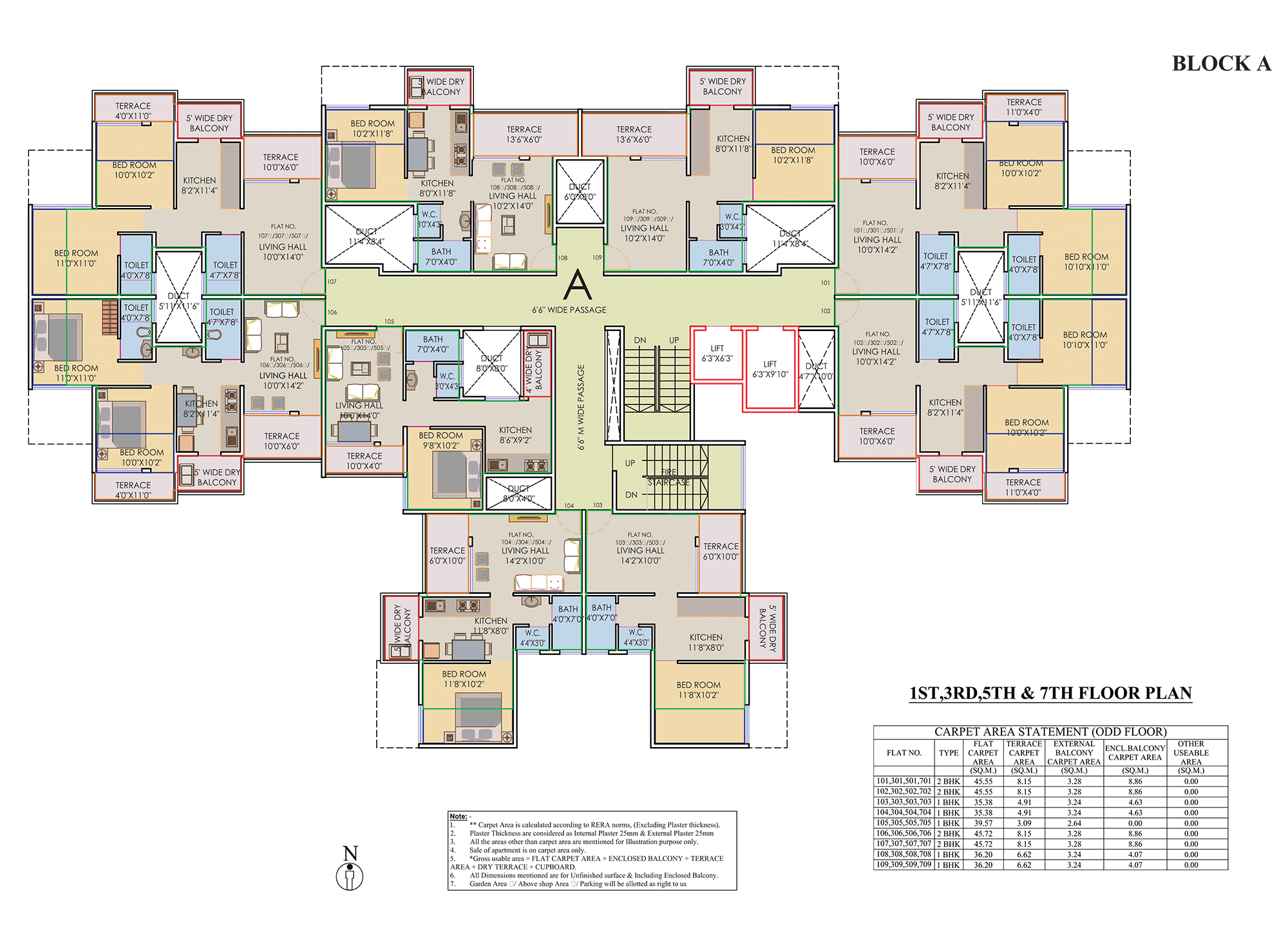 Prisitne Palms_Building  A 1,3,5,7 FLOOR PLAN